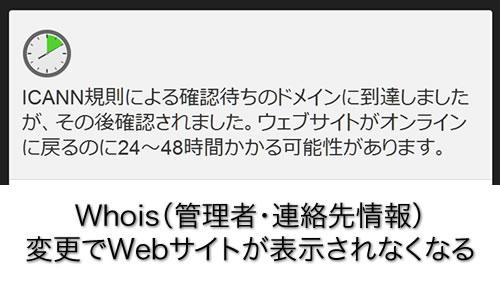 一瞬 血の気が引いたがWhoisの新しいメールアドレスが認証されて解決。ただしそのメールは迷惑メールフォルダーで消去されメールサーバーから再ダウンロード