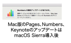 iWorks(Pages、Numbers、Keynote)新規デバイス購入で無料化 アップデートはOS連動