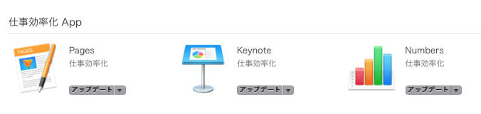 Mac版のiWorks(Pages、Numbers、Keynote)はApp Storeではアップデート可能に見えるが