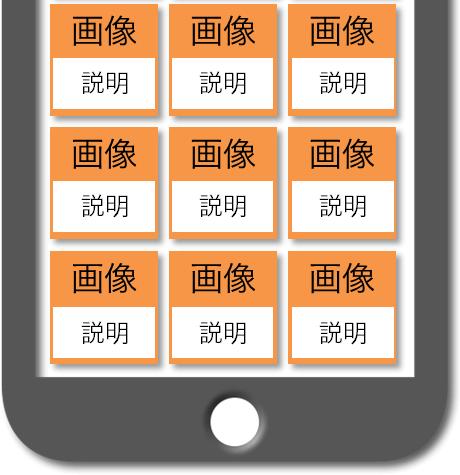 マニュアルによるスマホWebの完成予想図:コンテンツ箇所 画像内に説明